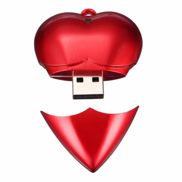 heart promotional usb red open
