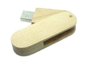 Round Wood Swivel USB 01 Drive